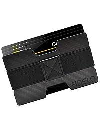 FIDELO 碳纤维极简钱包 - 男式纤薄钱包信用卡包钱夹带 4 个现金带 - 男式前口袋RFID 钱包