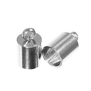 工艺计数绳端盖 - 3 毫米、5 毫米、6 毫米、7 毫米、8 毫米、9 毫米、10 毫米、12 毫米或 13 毫米 - 青铜或银色 - 2、5、10、25、50 或 100 包 6 mm Silver 25 Pack 25 X CECSLVR-6MM-~CRAFT_BR