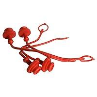 Grunge Armor | 4 件装 | 防尘塞,适合小型拖拉机母液压快速连接器,ISO 5675 带 0.95 厘米软管红色模压帽带系绳保持帽子固定在软管上