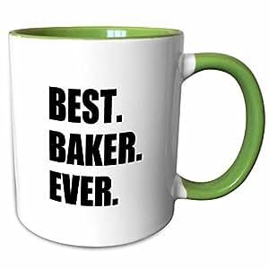 3dRose InspirationzStore Typography - Best Baker Ever - 大胆的黑色文字 - 业余爱好者和工作骄傲的礼物 - 马克杯 绿色/白色 11-oz Two-Tone Green Mug mug_179755_7