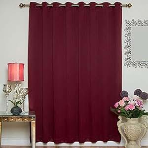 """遮光窗帘 203.2 cm 或 304.8 cm 宽古铜环顶部隔热面板,有 213.36 cm 和 274.32 cm 长可选 *红色 100"""" W X 84"""" L BO-WA-100801"""