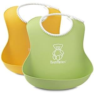 瑞典 BABYBJORN 婴儿 软胶防碎屑 围嘴(黄色+绿色 2只装 4个月以上) (产地 瑞典)