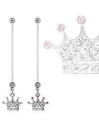 BioFlex Crown Dangle Pregnancy Navel Ring Clear