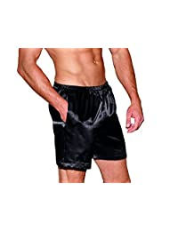 Dreamgirl Men's Satin Boxer Short With Pockets