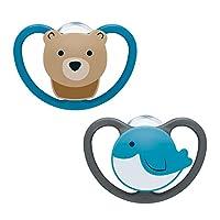 NUK Space 安抚奶嘴 减轻下颚压力款 6-18个月 硅胶 小熊与鲸鱼 2件装