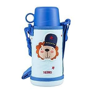 THERMOS 膳魔师 大容量儿童保温杯吸管杯+直饮杯 双壶盖 附背带杯套 蓝色630ml(FFG-603WF BLN)