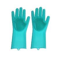 【食品级硅胶材质】卓上 家务手套 毛刷手套 抖音网红硅胶洗碗手套 洗碗手套 刷魔术手套 厨房清洁手套(蓝色 粉色随机发货)