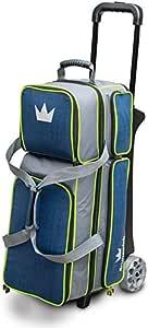 Brunswick 皇冠豪华三轮保龄球包,*蓝/绿黄色