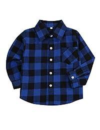 幼儿男婴女孩衣服绅士服装红色格子法兰绒正装衬衫带系扣儿童服装 1-6T 蓝色 b 1-2T