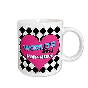 3dRose Worlds Best Babysitter Pink Mug, 11-Ounce