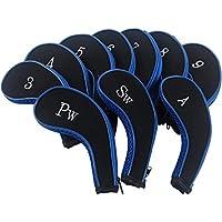 Dark Horse 高尔夫 3-sw 10 长颈铁合成皮革耐用拉链头套黑色和蓝色,适合所有品牌标题、Callaway、Ping、Taylormade、Cobra等