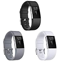SKYLET 兼容 Fitbit Charge 2 表带软硅胶替换腕带,适用于 Fitbit Charge 2 表带(无追踪器)