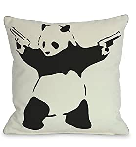 "One Bella Casa 鸡蛋抱枕 Panda With Guns 16"" x 16"" 11816PL16Z"
