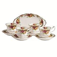 Royal Doulton Albert 老镇玫瑰9件套茶杯和托盘套装
