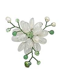 AeraVida 迷人莲花彩色玻璃养殖淡水珍珠-水晶针胸针