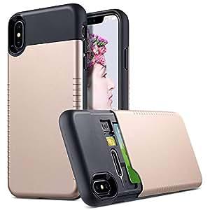 ULAK 超薄隐形钱包手机壳适用于 iPhone Xs Max 6.5 英寸 (2018),隐藏式卡托盘带额外 SIM 和卡存储,超薄*保护防滑混合 TPU 缓冲保护壳 金色 + 黑色