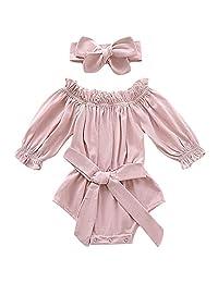 Mailza 女婴露肩衣服荷叶边长袖连衫裤蝴蝶结连体衣和头带套装