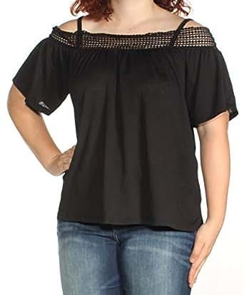 Cable & Gauge 女式针织露肩套头衫上衣黑色 XL 码