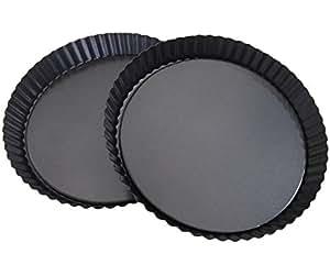 "Attmu 8 英寸不粘可拆式宽松下部Quiche Tart 平底锅(2 件装),Tart Pie Pan,圆形Tart Quiche 平底锅,带可拆卸底座 2 pack(8""black) 均码 BBB-042"