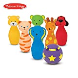 Melissa & Doug 美丽沙 K's Kids 保龄球朋友玩具套装,带 6 个保龄瓶和方便的手提箱