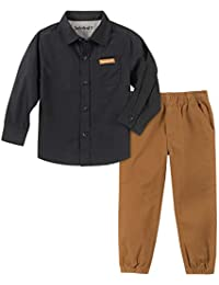 Timberland 添柏岚男婴 2 件套衬衫裤子套装 黑色 2 Years
