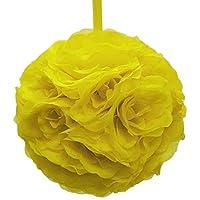 Firefly Imports Flower Kissing Balls Pomander Pom Pom Wedding Centerpiece, Yellow
