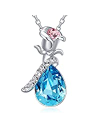 玫瑰花吊坠项链富含施华洛世奇水晶,18k 玫瑰金  蓝色