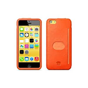 id-America iPhone 5C Wall St Genuine Leather Wallet Case - Retail Packaging - Orange