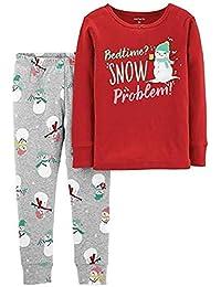 Carter's 女婴红色和灰色棉雪人圣诞节假日睡衣