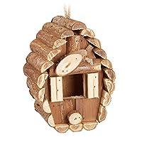 Relaxdays 迷你鸟屋 用于悬挂 未经处理的木材 适用于露台和露台 24.5 x 11 x 8 厘米 天然