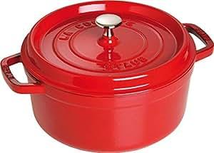 Staub 珐琅铸铁锅 搪瓷汤锅铸铁炖锅 24cm 樱桃红 经典系列