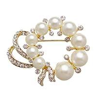Merdia 优雅白色仿造珍珠 & 水钻胸针 [ 首饰 ]