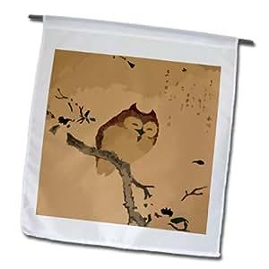 3dRose fl_109219_1 猫头鹰 N Magnolia 树枝花园旗,30.48 x 45.72 厘米