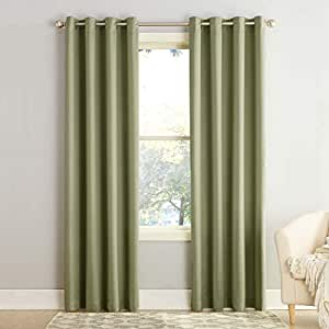 Sun Zero Barrow Room Darkening Curtain Panel, 54 by 84-Inch, Sage Green