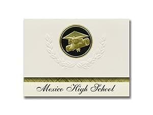 签名公告墨西哥高中(墨西哥,莫伊州)毕业公告,总统风格,25 片帽子和文凭印章的精英包装 黑色和金色。