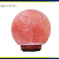 ZIYIUI 2.5千克喜马拉雅粉色水晶盐岩灯手工雕刻足球形状盐灯真橡胶木底座卧室床头灯