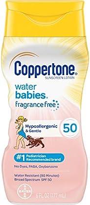Coppertone 水宝宝 Pure & Simple SPF 50 宝宝防晒乳液,无泪配方,防水,天然植物,广谱UVA/UVB保护,6盎司/177毫升
