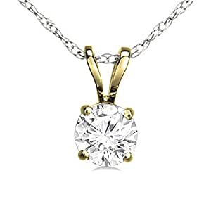 0.50 Carat (ctw) 14K Yellow Gold Round White Diamond Ladies Solitaire Pendant 1/2 CT