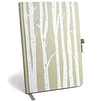 带标签的密码簿记事本 - 密码记事本 - 大尺寸带笔环和书封口,用于保存用户姓名和密码记录 Birch Trees & Birds