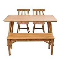 百伽 现代简约全实木餐桌椅组合进口白橡木餐厅家用一桌四椅 1.4米M型腿餐桌+2把温莎椅+1.1米长条凳【亚马逊自营,供应商配送】