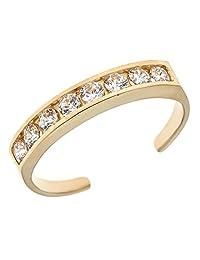 10k 纯金永恒戒指方晶锆石趾环槽镶可调节身体首饰(黄色或白色)
