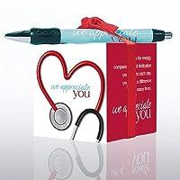 Sticky Note Cube and Pen Healthcare 礼品套装 - 575 张纸垫黑色墨水圆珠扣式笔子 - 展示红丝带 - 多色 - *纪念礼物 - 批量订单选项 - 听诊器