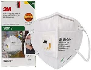 3M口罩 9001V KN90防护级别 90% 过滤效率 呼吸阀耳戴式独立包装 25只/盒(亚马逊自营商品, 由供应商配送)