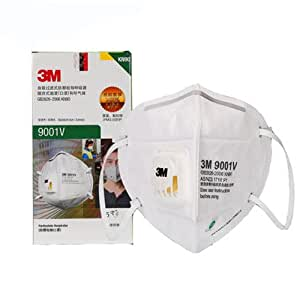 3M口罩 9001V KN90防护级别 90%过滤效率 呼吸阀耳戴式独立包装 25只/盒(亚马逊自营商品, 由供应商配送)