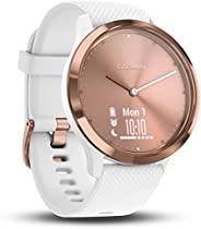 Garmin 佳明 Vivomove HR 混合智能手表 小号/中号玫瑰金带白色表带(玫瑰金)