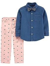 Carter's Infant & Toddler Boys Blue Button Up Dress Shirt Bowtie & Pant Outfit