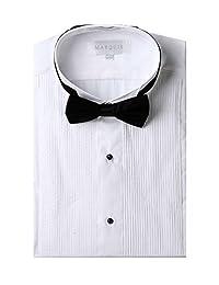 Marquis 男士白色修身燕尾服衬衫黑色蝴蝶结