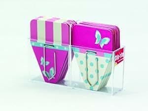 Clip-rite Clip-Tabs 每色 12 个夹扣,Med 蝴蝶粉色/黑色 (CRT-034)