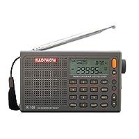RADIWOW R-108 收音機數碼便攜式收音機 FM 立體聲 LW/SW/MW/AIR/DSP接收器帶液晶聲音適合室內戶外活動送給父母的禮物。