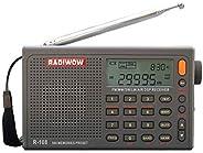 RADIWOW R-108 收音机数码便携式收音机 FM 立体声 LW/SW/MW/AIR/DSP接收器带液晶声音适合室内户外活动送给父母的礼物。